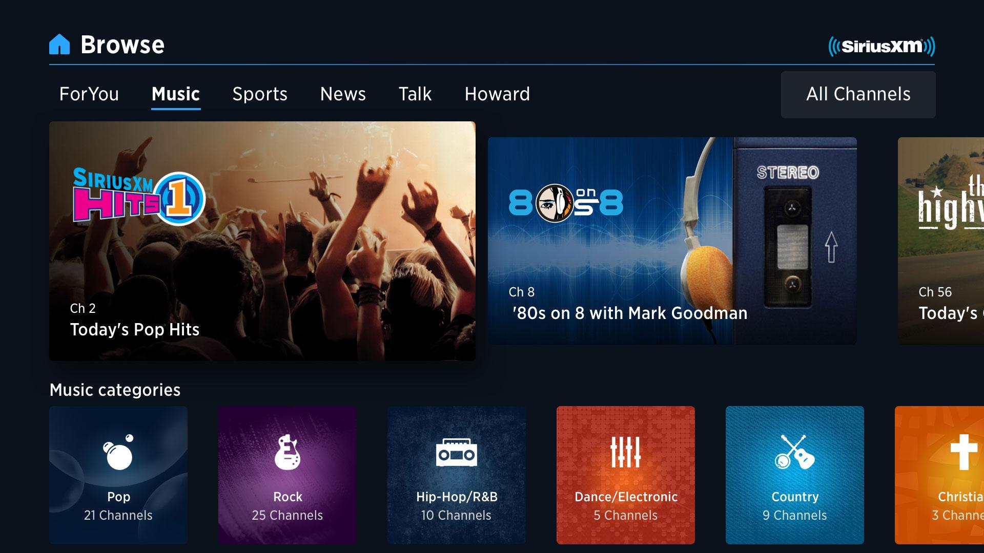 Stream SiriusXM at home on Apple TV