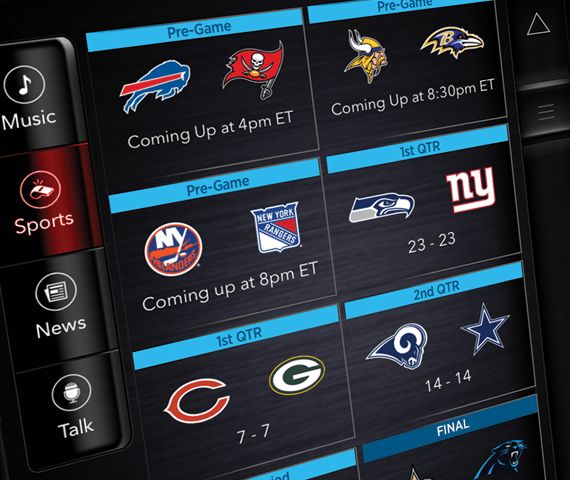app interface with sports programming